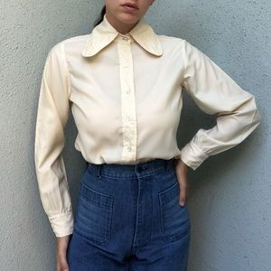 [vintage] 60s 70s curve collar button down shirt
